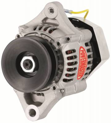 Powermaster - Powermaster Alternator Denso Race 93mm Natural 55A 12 Volt 1V Pulley 1-Wire - 8172