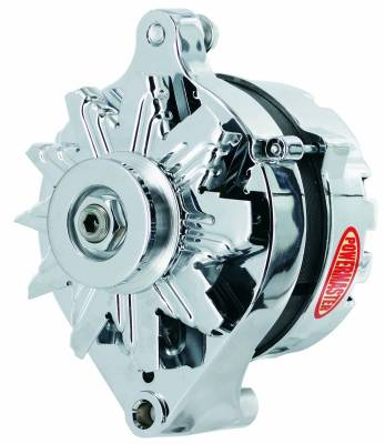 Powermaster - Powermaster Alternator Ford 1G Chrome 75A 1V Pulley Ext Regulated - 17078