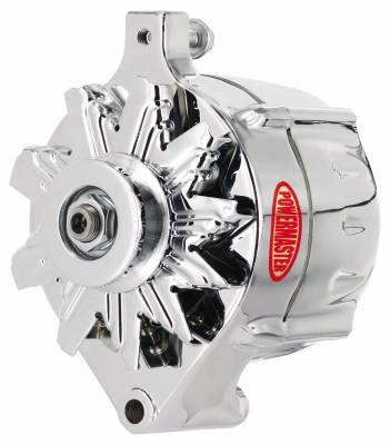 Powermaster - Powermaster Alternator Ford Upgrade Chrome 100A Smooth Look 1V Pulley 1-Wire - 8-37101