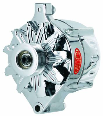 Powermaster - Powermaster Alternator Ford Upgrade Chrome 100A Smooth Look 6 grv Pulley 1-Wire - 8-37100