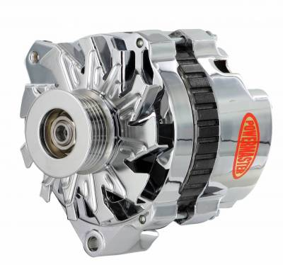 Alternator / Generator and Related Components - Alternator - Powermaster - Powermaster Alternator GM CS130 Chrome 140A 6 grv Pulley Offset Left Mtg 1-Wire or OE Hookup - 37861