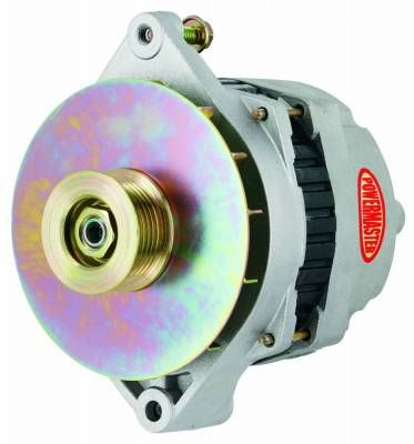 Alternator / Generator and Related Components - Alternator - Powermaster - Powermaster Alternator GM CS144 Natural 200A 6 grv Pulley/Baffle Starter Mtg Threaded Mtg Ear Vette, Grd Nat'l, F-Bird, 1-Wire or OE - 47864