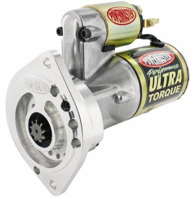 "Starter and Related Components - Starter Motor - Powermaster - Powermaster Starter Ultra Ford Small Block w/billet blk 2 Ear Mtg All M/T w/164T Flyw 3/8"" Depth 2.5kw Gold - 9404"