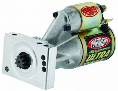 Starter and Related Components - Starter Motor - Powermaster - Powermaster Starter Ultra w/billet blk Chevy Universal Straight Mtg 153/168T Flyw 2.5 kw Natural - 9400