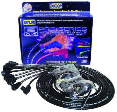 Ignition Wire and Related Components - Spark Plug Wire Set - Taylor Cable - Pro TCW univ 8 cyl 90 black - 70050