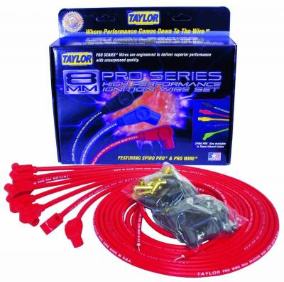 Ignition Wire and Related Components - Spark Plug Wire Set - Taylor Cable - Pro TCW univ 8 cyl 90 red - 70250