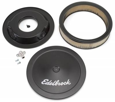"""Carburetion - Air Cleaner Assembly - Edelbrock - Pro-Flo Black 14"""" Round Air Cleaner with 3"""" Paper Element (Deep Flange) - 1223"""