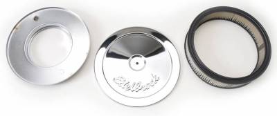 """Carburetion - Air Cleaner Assembly - Edelbrock - Pro-Flo Chrome 10"""" Round Air Cleaner with 3"""" Paper Element - 1208"""