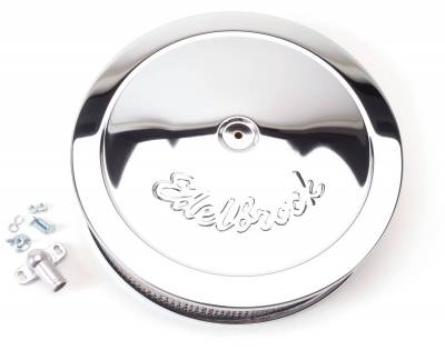 """Carburetion - Air Cleaner Assembly - Edelbrock - Pro-Flo Chrome 14"""" Round Air Cleaner with 3"""" Paper Element (Deep Flange) - 1221"""