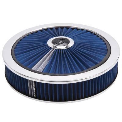 "Carburetion - Air Cleaner Assembly - Edelbrock - Pro-Flo Chrome Round 14"" Air Cleaner - 3"" Pro-Flo Element (Blue) - 43661"