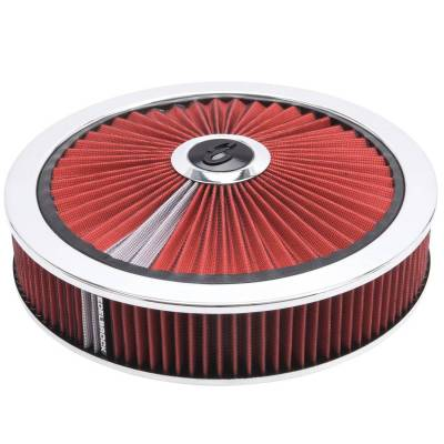 """Carburetion - Air Cleaner Assembly - Edelbrock - Pro-Flo Chrome Round 14"""" Air Cleaner - 3"""" Pro-Flo Element (Red) - 43660"""