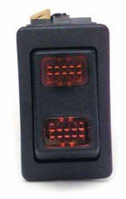 Switches - Rocker Type Switch - Painless Wiring - Rocker Switch/On-Off-On/Red Lighted - 80403