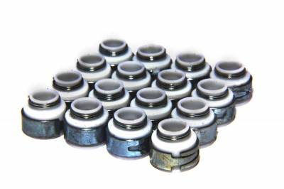 "Gaskets and Sealing Systems - Engine Valve Stem Oil Seal Set - COMP Cams - Set of 16 PTFE Valve Seals for .530"" Guide Size, 3/8"" Valve Stem - 505-16"