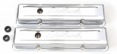 Cylinder Block Components - Engine Valve Cover Set - Edelbrock - Signature Series Valve Covers for Chevrolet 262-262-400 '59-'86 - 4449