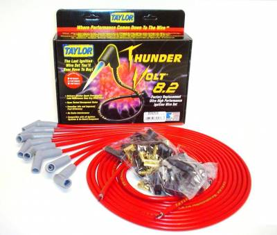 Ignition Wire and Related Components - Spark Plug Wire Set - Taylor Cable - Thundervolt 8.2 univ 8 cyl 135 red - 83253
