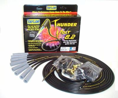 Ignition Wire and Related Components - Spark Plug Wire Set - Taylor Cable - Thundervolt 8.2 univ 8 cyl 180 black - 83055