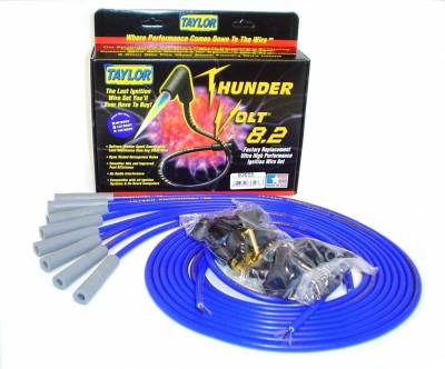Ignition Wire and Related Components - Spark Plug Wire Set - Taylor Cable - Thundervolt 8.2 univ 8 cyl 180 blue - 83655