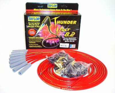 Ignition Wire and Related Components - Spark Plug Wire Set - Taylor Cable - Thundervolt 8.2 univ 8 cyl 180 red - 83255