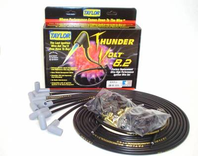 Ignition Wire and Related Components - Spark Plug Wire Set - Taylor Cable - Thundervolt 8.2 univ 8 cyl 90 black - 83051