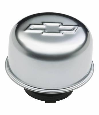 Crankcase Ventilation System - Engine Crankcase Breather Cap - Proform - Valve Cover Breather Cap - Chrome - Twist-On Type - 3in. Diameter - With Bowtie Logo