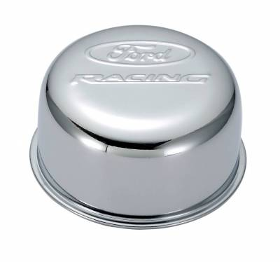 Crankcase Ventilation System - Engine Crankcase Breather Cap - Proform - Valve Cover Breather Cap - Chrome - Twist-On Type - 3in. Diameter - With Ford Logo