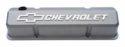 Cylinder Block Components - Engine Valve Cover - Proform - Valve Covers - Slant-Edge Tall - Die Cast - Gray w/Raised Bowtie Logo - For SB Chevy