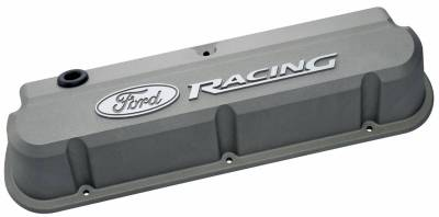 Cylinder Block Components - Engine Valve Cover - Proform - Valve Covers - Slant-Edge Tall - Die Cast - Gray w/Recessed Ford Logo - SB Ford