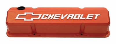 Cylinder Block Components - Engine Valve Cover - Proform - Valve Covers - Slant-Edge Tall - Die Cast - Orange w/ Raised Bowtie Logo - SB Chevy