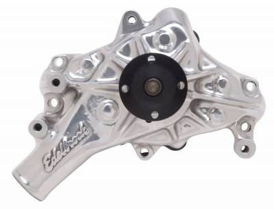 Water Pump and Related Components - Engine Water Pump - Edelbrock - Water Pump for Small-Block Chevy in Polished Finish (Long) - 8821