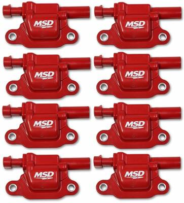 Ignition Coil - Ignition Coil - MSD - Coils, Red, Square, '14 & up GM V8, 8-pk - 82668