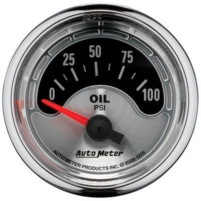 "Instrument Panel - Engine Oil Pressure Gauge - AutoMeter - GAUGE, OIL PRESS, 2 1/16"", 100PSI, ELEC, AMERICAN MUSCLE - 1226"