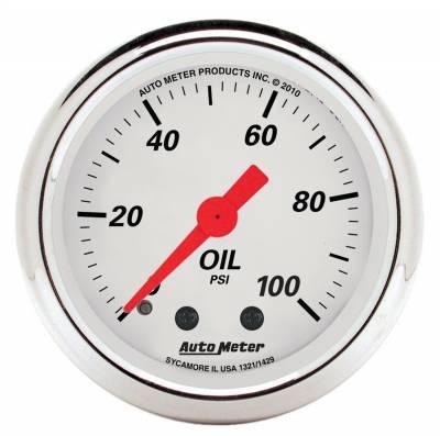 "Instrument Panel - Engine Oil Pressure Gauge - AutoMeter - GAUGE, OIL PRESS, 2 1/16"", 100PSI, MECH, ARCTIC WHITE - 1321"