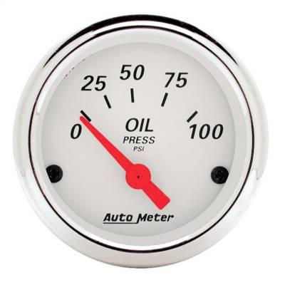 "Instrument Panel - Engine Oil Pressure Gauge - AutoMeter - GAUGE, OIL PRESS, 2 1/16"", 100PSI, ELEC, ARCTIC WHITE - 1327"
