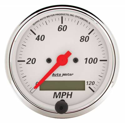 "Instrument Panel - Speedometer Gauge - AutoMeter - GAUGE, SPEEDOMETER, 3 1/8"", 120MPH, ELEC. PROG. W/ LCD ODO, ARCTIC WHITE - 1388"