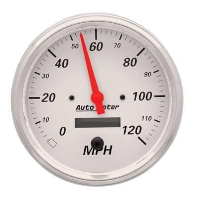 "Instrument Panel - Speedometer Gauge - AutoMeter - GAUGE, SPEEDOMETER, 5"", 120MPH, ELEC. PROG. W/ LCD ODO, ARCTIC WHITE - 1389"