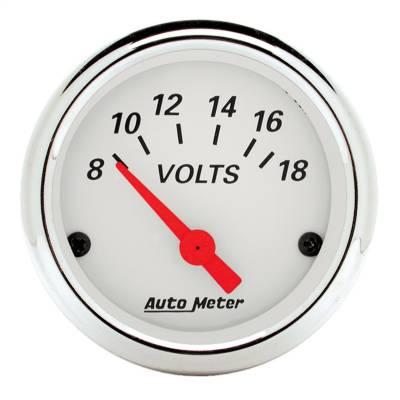 """Instrument Panel - Voltmeter Gauge - AutoMeter - GAUGE, VOLTMETER, 2 1/16"""", 18V, ELEC, ARCTIC WHITE - 1391"""