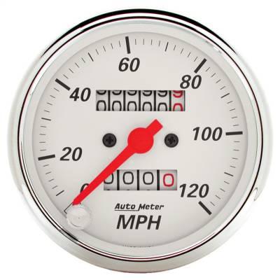 "Instrument Panel - Speedometer Gauge - AutoMeter - GAUGE, SPEEDOMETER, 3 1/8"", 120MPH, MECHANICAL, ARCTIC WHITE - 1396"