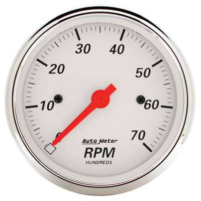 "Instrument Panel - Tachometer Gauge - AutoMeter - GAUGE, TACHOMETER, 3 1/8"", 7K RPM, IN-DASH, ARCTIC WHITE - 1398"