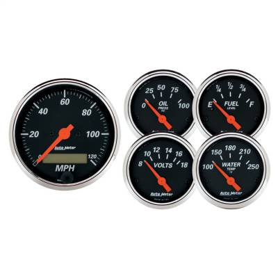 "AutoMeter - GAUGE KIT, 5 PC., 3 1/8"" & 2 1/16"", ELEC. SPEEDOMETER, DESIGNER BLACK - 1421"