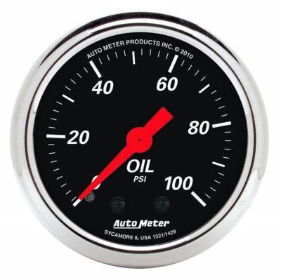 """Instrument Panel - Engine Oil Pressure Gauge - AutoMeter - GAUGE, OIL PRESS, 2 1/16"""", 100PSI, MECH, DESIGNER BLACK - 1429"""