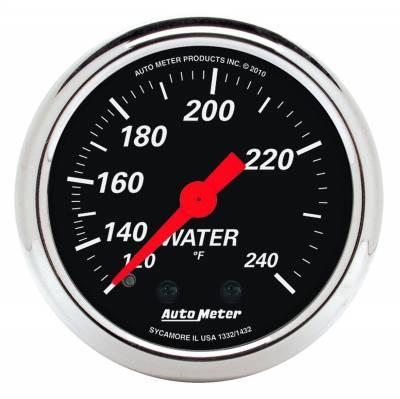 "Instrument Panel - Engine Coolant Temperature Gauge - AutoMeter - GAUGE, WATER TEMP, 2 1/16"", 120-240?F, MECH, DESIGNER BLACK - 1432"