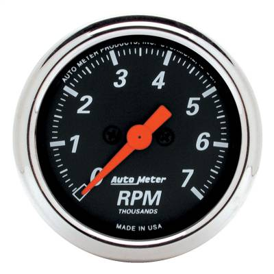 "Instrument Panel - Tachometer Gauge - AutoMeter - GAUGE, TACHOMETER, 2 1/16"", 7K RPM, IN-DASH, DESIGNER BLACK - 1477"