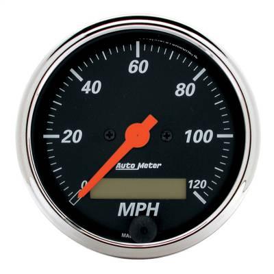 """Instrument Panel - Speedometer Gauge - AutoMeter - GAUGE, SPEEDO., 3 1/8"""", 120MPH, ELEC. PROG. W/ LCD ODO, DESIGNER BLK - 1487"""