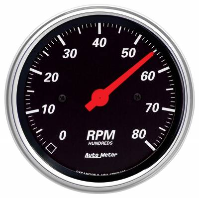 "Instrument Panel - Tachometer Gauge - AutoMeter - GAUGE, TACHOMETER, 3 3/8"", 8K RPM, IN-DASH, DESIGNER BLACK - 1490"