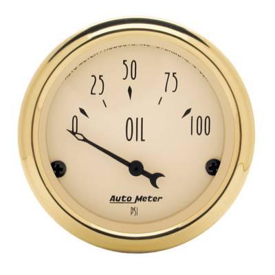 "Instrument Panel - Engine Oil Pressure Gauge - AutoMeter - GAUGE, OIL PRESS, 2 1/16"", 100PSI, ELEC, GOLDEN OLDIES - 1528"