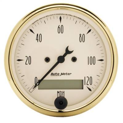 """Instrument Panel - Speedometer Gauge - AutoMeter - GAUGE, SPEEDOMETER, 3 1/8"""", 120MPH, ELEC. PROG. W/ LCD ODO, GOLDEN OLDIES - 1588"""