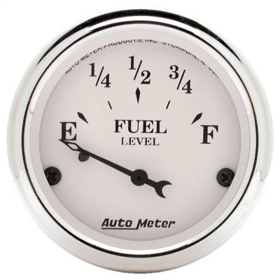 "Instrument Panel - Fuel Level Gauge - AutoMeter - GAUGE, FUEL LEVEL, 2 1/16"", 0OE TO 90OF, ELEC, OLD TYME WHITE - 1604"