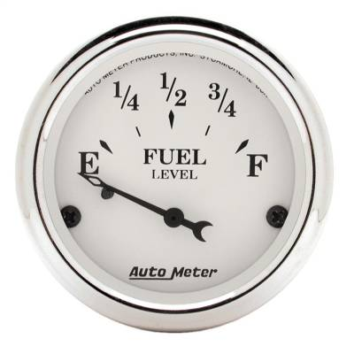 "Instrument Panel - Fuel Level Gauge - AutoMeter - GAUGE, FUEL LEVEL, 2 1/16"", 73OE TO 10OF, ELEC, OLD TYME WHITE - 1605"