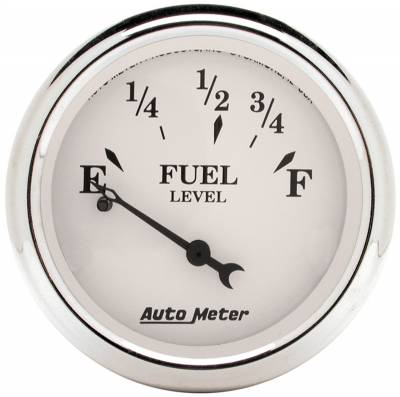 "Instrument Panel - Fuel Level Gauge - AutoMeter - GAUGE, FUEL LEVEL, 2 1/16"", 0OE TO 30OF, ELEC, OLD TYME WHITE - 1607"