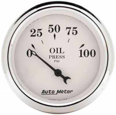 "Instrument Panel - Engine Oil Pressure Gauge - AutoMeter - GAUGE, OIL PRESS, 2 1/16"", 100PSI, ELEC, OLD TYME WHITE - 1628"